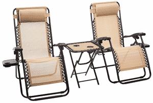 Test et avis sur le lot de 2 chaises longues avec table d'appoint Amazon Basics