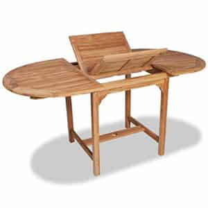 Test et avis sur la table de jardin extensible en teck VidaXL